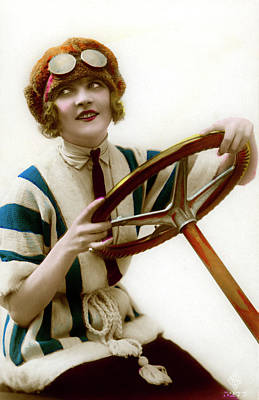 Photograph - Woman Driver At Steering Wheel by Graphicaartis
