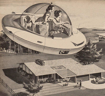 Flying Photograph - Woman Driving Flying Saucer by Graphicaartis