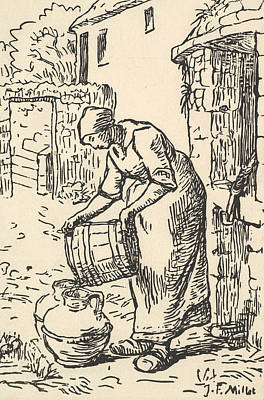 Relief - Woman Emptying A Bucket by Jean-Francois Millet
