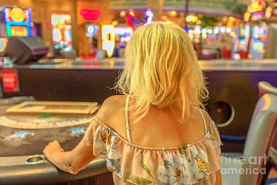 Photograph - Woman Gambling At Blackjack Table by Benny Marty