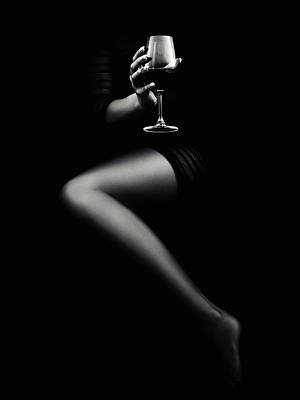 Black And White Horse Photography - Woman holding red wine by Johan Swanepoel