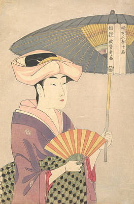 Relief - Woman Holding Up A Parasol by Kitagawa Utamaro