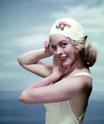 Photograph - Woman In A Swim Cap by Tom Kelley Archive