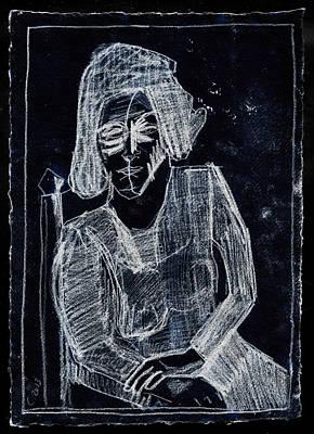Digital Art - Woman In An Armchair White On Black 2 by Artist Dot