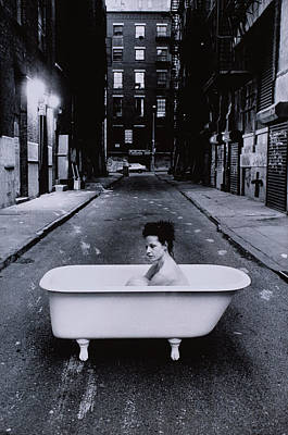 Naked Photograph - Woman In Bathtub In Street by Charles Eshelman