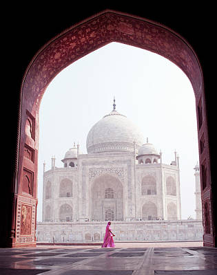 Photograph - Woman In Pink At The Taj Mahal by Shanna Baker