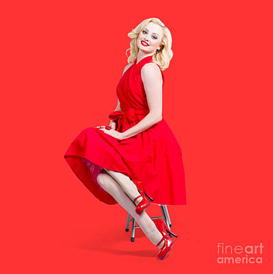 Actors Photos - Woman in romantic red dress. Retro fashion model  by Jorgo Photography - Wall Art Gallery