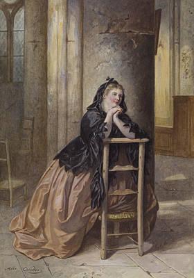 Drawing - Woman Kneeling In Prayer by Alexandre Couder