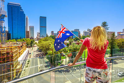 Photograph - Woman Looking Perth Skyline by Benny Marty