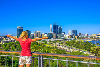 Photograph - Woman Looks Perth Skyline by Benny Marty