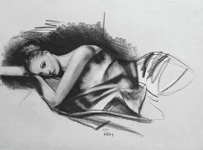 Drawing - Woman Lying Down by Anthony Falbo