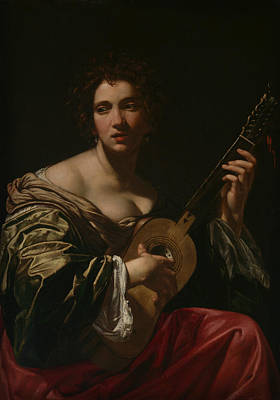 Painting - Woman Playing A Guitar by Simon Vouet