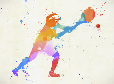 Sports Paintings - Woman Playing Tennis by Dan Sproul