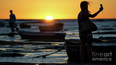 Photograph - Woman Selfie At Sunset La Caleta Beach Cadiz Spain by Pablo Avanzini