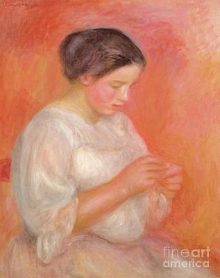 Painting - Woman Sewing, 1900 by Pierre Auguste Renoir