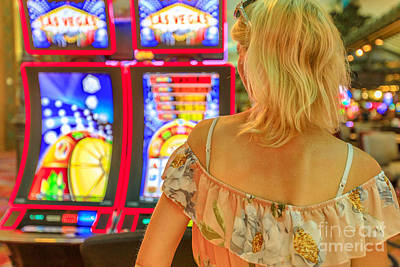 Photograph - Woman Slot Machines by Benny Marty