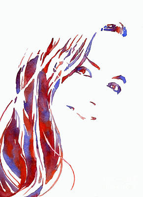 Painting - Woman Smiling.  Fine Art Watercolor Of Woman Smiling.   Fashion  by Ryan Fox