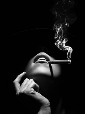 Mick Jagger - Woman smoking a cigar by Johan Swanepoel