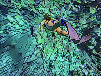 Painting - Woman Snorkeling A18-3 by Ray Shrewsberry