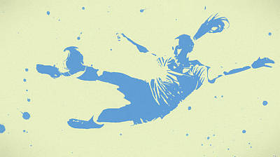 Sports Paintings - Woman Soccer Player Pop Art by Dan Sproul