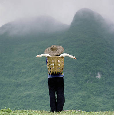 Photograph - Woman Standing In Front Of Mountain by Martin Puddy