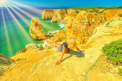 Photograph - Woman Sunbathing In Algarve by Benny Marty