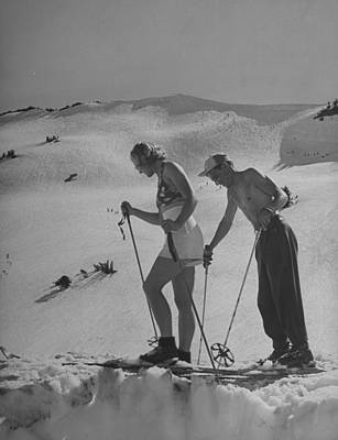 Photograph - Woman Taking Lessons In Summer Skiing At by Peter Stackpole