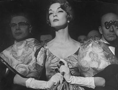 Photograph - Woman Wearing Wide Shoulder Fashion Look by Nina Leen