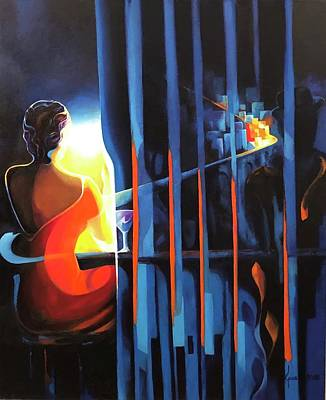 Painting - Woman With A Vision by Grus Lindgren