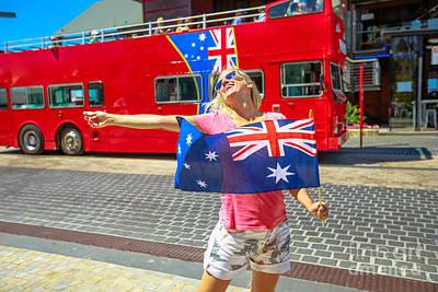 Photograph - Woman With Australian Flag by Benny Marty