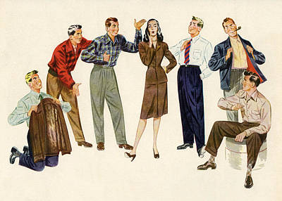 People Digital Art - Woman With Group Of Suitors by Graphicaartis
