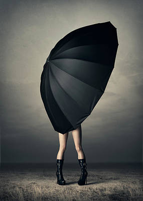 Woman With Huge Umbrella Art Print