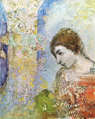 Wild Horse Paintings - Woman with Pillar of Flowers, 1903 by Odilon Redon