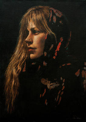 Painting - Woman With Shawl by Hans Egil Saele