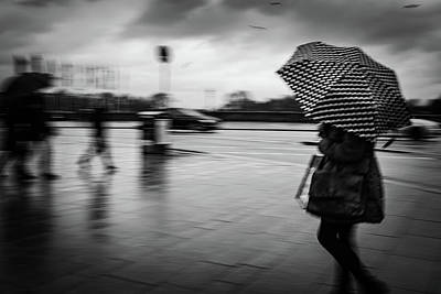 Photograph - Woman with spotted umbrella by Ute Herzog