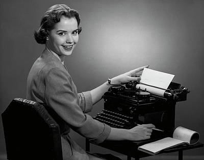 Photograph - Woman Working At Typewriter by George Marks