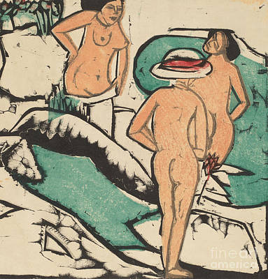 Painting - Women Bathing Between White Stones, 1912  by Ernst Ludwig Kirchner