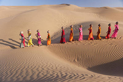India Photograph - Women Fetching Water From The Sparse by Mint Images - Art Wolfe