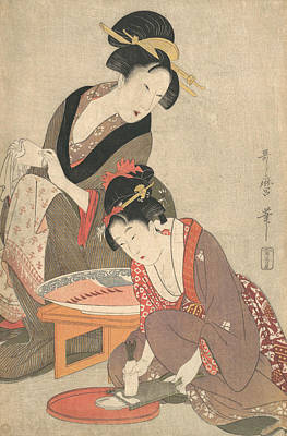 Relief - Women Preparing Sashimi by Kitagawa Utamaro