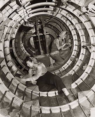 Photograph - Women Riveters Inside Aircraft Fusilage by H. Armstrong Roberts