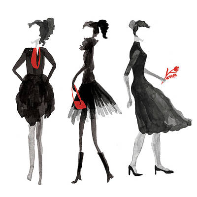People Digital Art - Women Silhouettes by Catarina Bessell