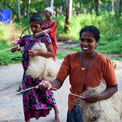 Indian Culture Photograph - Women Weaving A Rope by Hadynyah