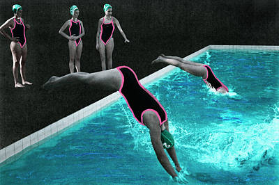 Photograph - Womens Waterpolo Team Diving Into The by Klaus Vedfelt