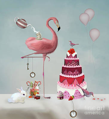 Surrealism Royalty-Free and Rights-Managed Images - Wonderland surreal tea party by EllerslieArt