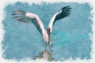 Photograph - Wood Stork Landing - Paintograohy by Dan Friend