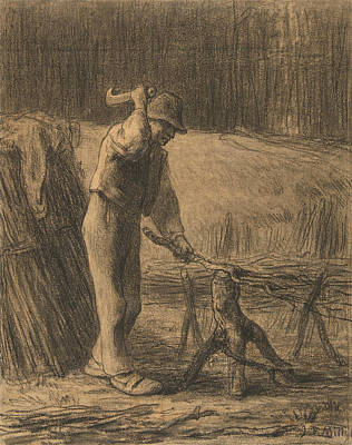 Drawing - Woodcutter Trimming Faggots by Jean-Francois Millet
