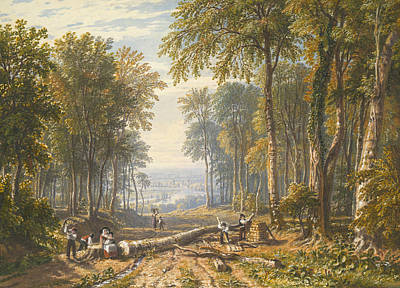 Drawing - Woodcutters At Park Place, Henley, The River Thames Beyond by William Havell
