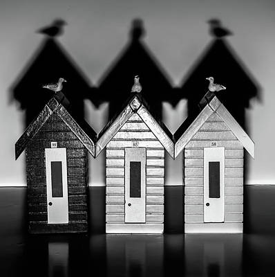 Photograph - Wooden Beach Huts Lined Up Black And White by Scott Lyons