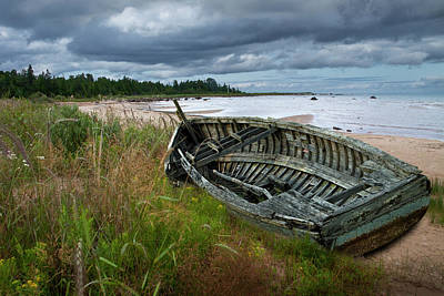 Photograph - Wooden Boat Lying Shipwrecked On A Lake Michigan Shore by Randall Nyhof