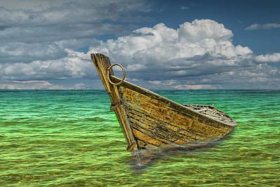 Photograph - Wooden Boat Resting In The Shallows by Randall Nyhof